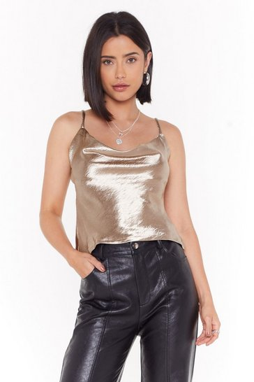 Womens Gold Don't Cowl Me Up Hammered Satin Top