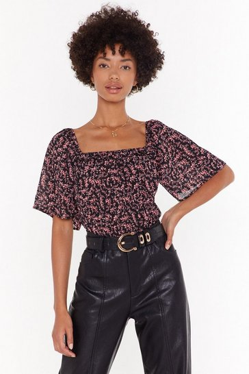 Womens Black You Got the Flower Floral Square Neck Top