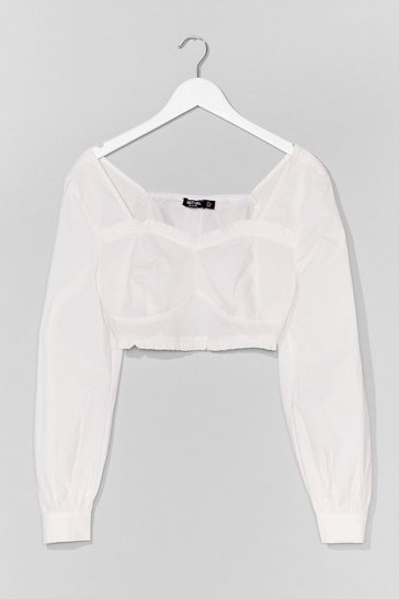 White Is There a Lace Puff Sleeve Crop Top