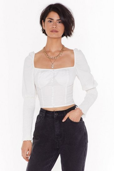 White Grab a Cup Puff Sleeve Square Neck Top