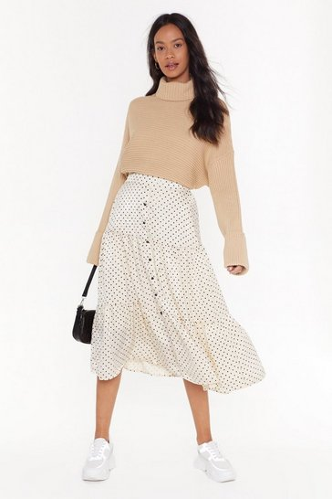 Womens Cream Spot on Satin Midi Skirt