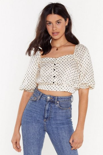 Cream It's Spot Rocket Science Puff Sleeve Crop Top