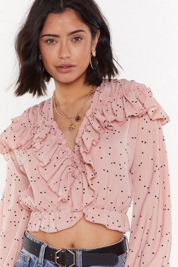 Womens Pink Break Hearts Ruffle Crop Top
