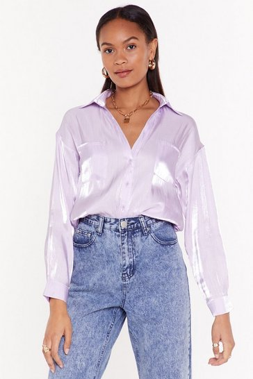 Womens Lilac Shimmer Down Babe Satin Relaxed Shirt