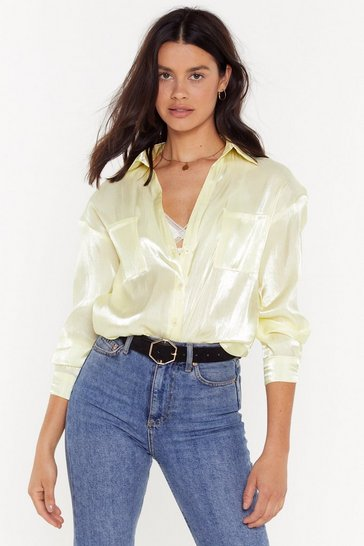 Womens Lime Shimmer Down Babe Satin Relaxed Shirt