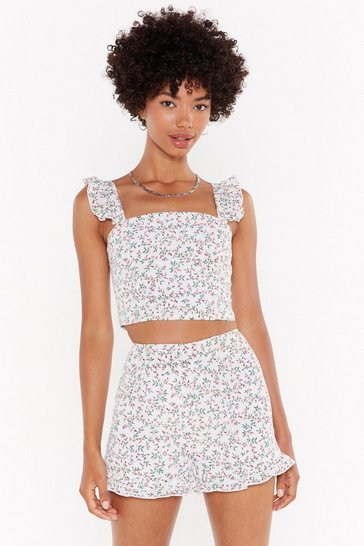 Womens White Days of Flower Lives Floral Crop Top