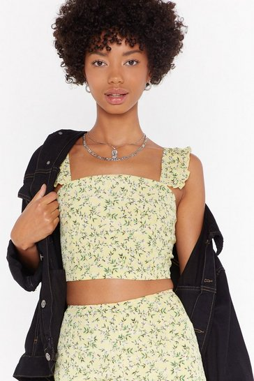 Womens Yellow Days of Flower Lives Floral Crop Top