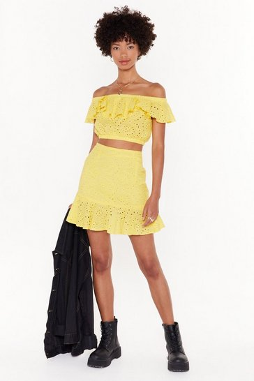 Womens Yellow Broderie Awesome Rufle Mini Skirt