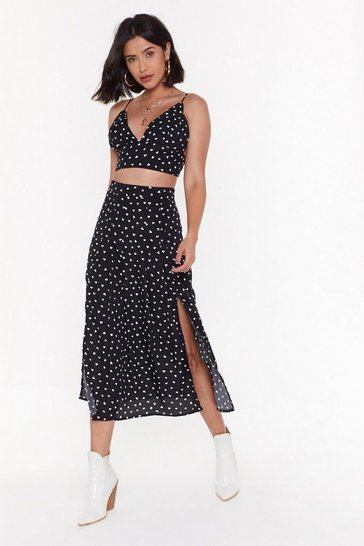 Womens Black Who Owns My Heart Midi Skirt and Bralette Set