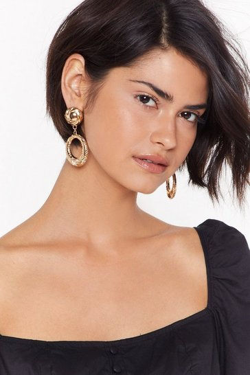 Womens Gold Final Statement Drop Earrings