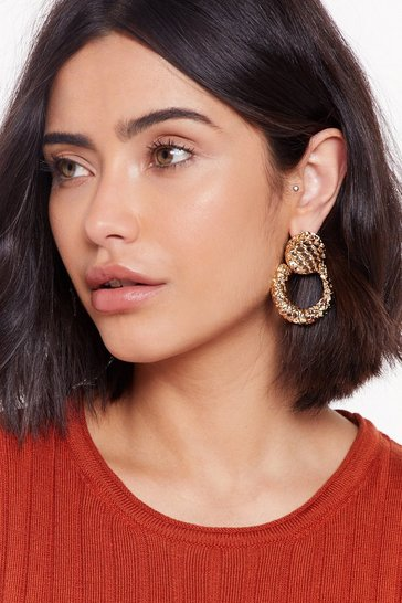 Womens Gold Listen Up Door-Knocker Earrings