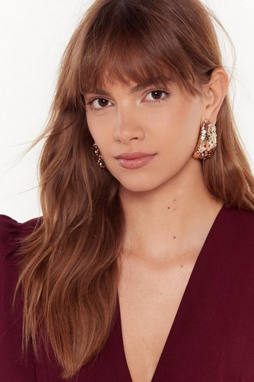 Gold Can You Hear Me Embellished Earrings
