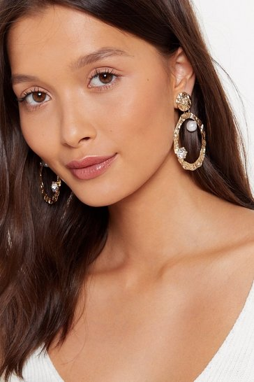 Womens Gold Break the Jewels Embellished Drop Earrings