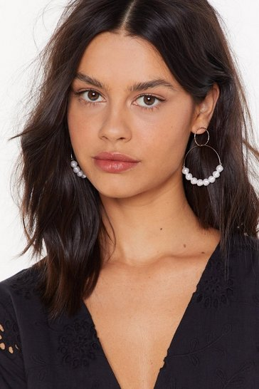 Womens Gold Come Around Sometime Embellished Hoop Earrings