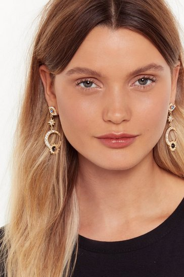 Gold Eyes on the Prize Embellished Drop Earrings