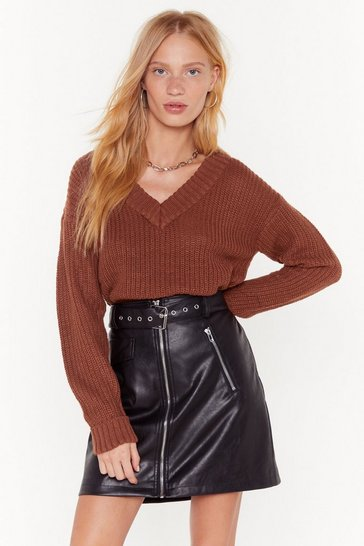Womens Brown V Don't Talk Anymore Relaxed Knit Sweater