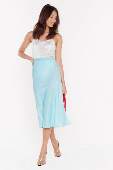Womens Pale blue Touch By Touch Satin Midi Skirt