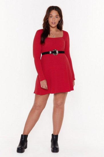Womens Red On My Best Behaviour Plus Mini Dress