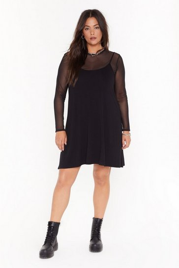 Womens Black Accept Nothin' Mesh Mini Dress
