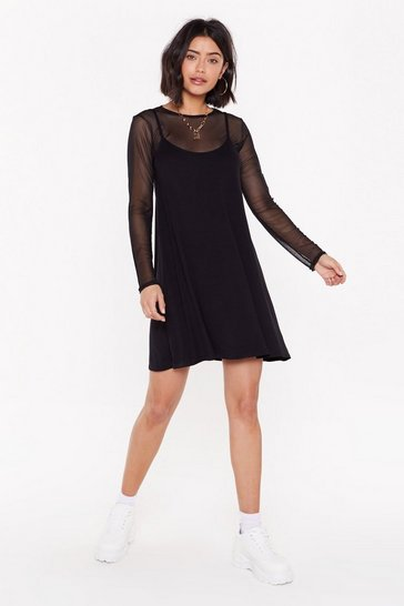 Womens Black Sheer Miss Mesh Mini Dress