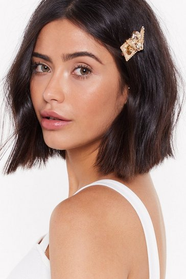 Womens Gold A Little Piece of Heaven Cherub Hair Slide