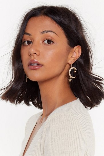 Gold Take Me to the Moon Embellished Drop Earrings