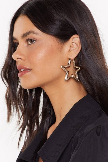 Womens Gold Raise the Star Hoop Earrings