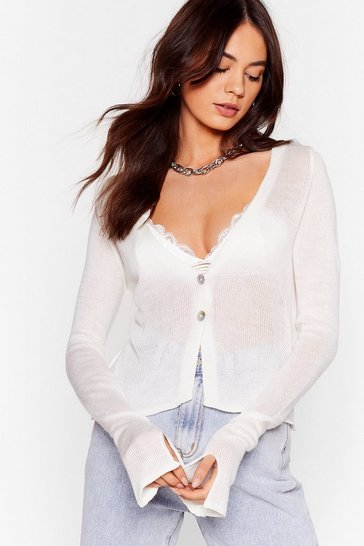 Womens White Right Sheer Waiting Button-Down Cardigan