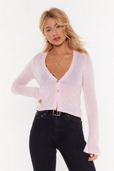 Womens Pink Right Sheer Waiting Button-Down Cardigan