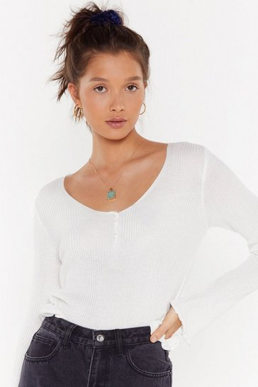 Womens White Are You Gonna Be Our Pearl Ribbed Knit Sweater