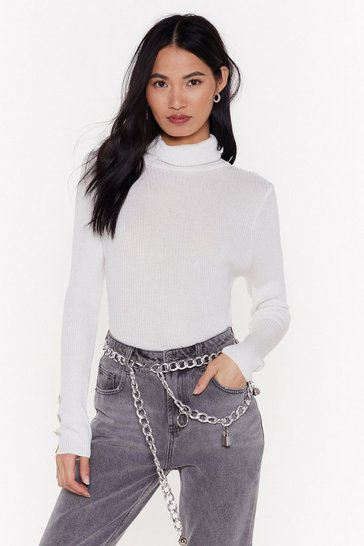 Womens White Be That Pearl Ribbed Turtleneck Sweater