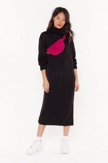Womens Black Cowl neck maxi jumper dress