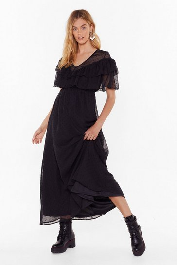 Womens Black Dobby Ruffle Maxi Dress