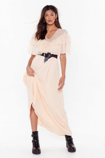 Womens Nude Dobby Ruffle Maxi Dress