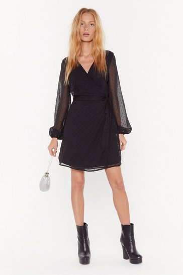 Womens Black Texture You Later Puff Sleeve Wrap Dress