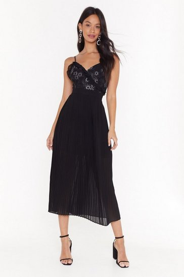 Black Pleat Me Halfway Lace Midi Dress