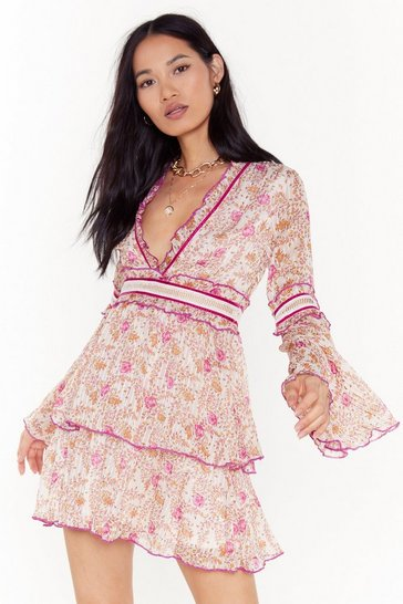 Womens Natural Bloomer Than Later Floral Ruffle Mini Dress