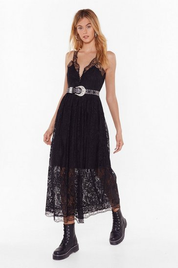 Womens Black Save a Lace For Me Plunging Midi Dress