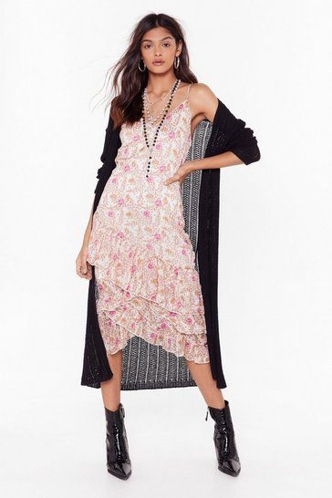 Womens Natural All Sheer Say Floral Midi Dress