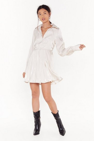 Womens Cream Such a Shirt Satin Mini Dress