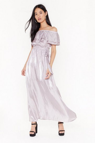 Womens Lavender Take It Off-the-Shoulder Maxi Dress