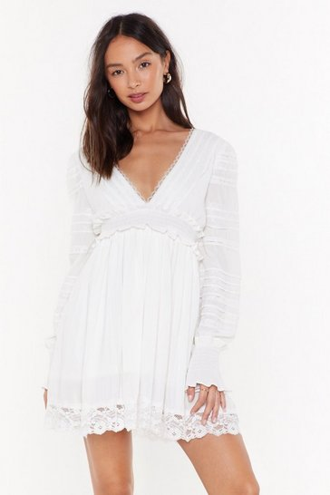 Womens White Summer Romance Lace Mini Dress
