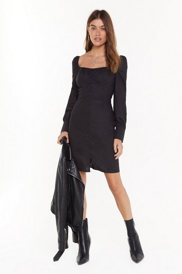 Black Button Be Me Square Neck Cupped Dress