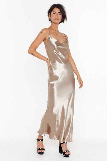 Womens Gold Don't Slip Up Satin Maxi Dress
