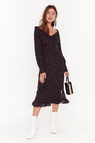 Womens Black Puff Sleeve Button Down Tea Dress