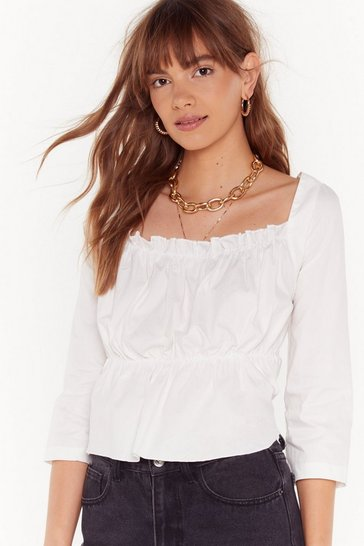 Womens White Shop Till You Crop Square Neck Crop Top