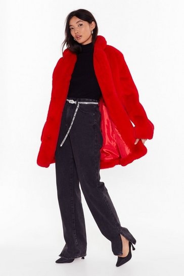 Womens Red Faux Fur Coat