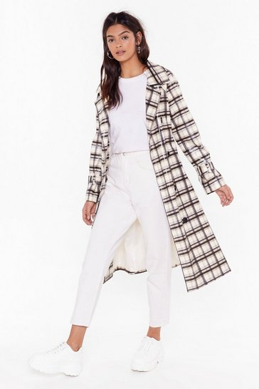 Womens Cream Rain Down Coated Check Trench Coat