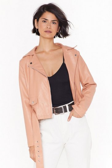 Love Leather Felt So Good Faux Leather Jacket, Nude