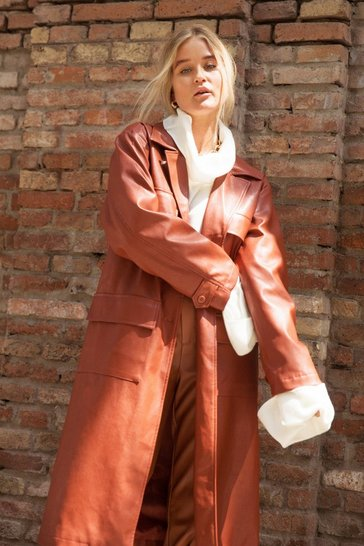 Brown Faux Leather Trench Coat with Button-Down Closure